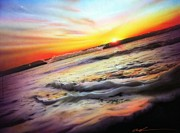 Sunset Prints Prints - Ocean Infinity Print by Christian Chapman Art
