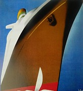 Liner Mixed Media - OCEAN LINERS # 2    Art Deco by Gunter  Hortz