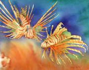 Lionfish Paintings - Ocean Lions by Tracy L Teeter