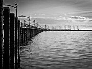 Clouds Photos - Ocean Pier in Black and White by Eva Kondzialkiewicz