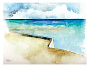 Edge Paintings - Ocean Pier in Key West Florida by Catherine Twomey