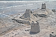 Topsail Island Posters - Ocean Sandcastles Poster by East Coast Barrier Islands Betsy A Cutler