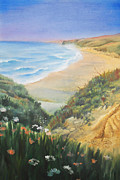Relax Paintings - Ocean Shore Through The Hills by Irina Sztukowski