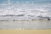 Sun Photo Posters - Ocean shore with sparkling waves Poster by Elena Elisseeva