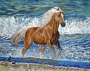 Danielle Perry Painting Framed Prints - Ocean Stallion Framed Print by Danielle  Perry