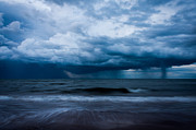 Storm Clouds; Sunset; Twilight; Water Framed Prints - Ocean Storm Framed Print by Matt Dobson