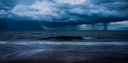 Storm Clouds; Sunset; Twilight; Water Framed Prints - Ocean Storm Panorama Framed Print by Matt Dobson