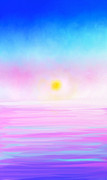 Digital Pastel Paintings - Ocean Sunset by Anita Lewis