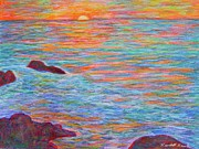 Sun Pastels Originals - Ocean Sunset by Kendall Kessler