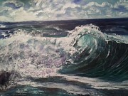 Phthalo Blue Paintings - Ocean surf by Ordy Duker