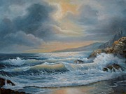 Sea With Waves Posters - Ocean Under A Stormy Sky Seascape Poster by Gina Femrite