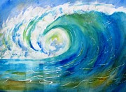 Barrel Paintings - Ocean Wave by Carlin Blahnik