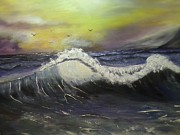 Phthalo Blue Paintings - Ocean wave by Ordy Duker