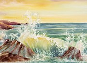 Summer Celeste Painting Posters - Ocean Waves II Poster by Summer Celeste