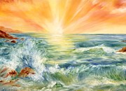 Summer Celeste Painting Posters - Ocean Waves III Poster by Summer Celeste