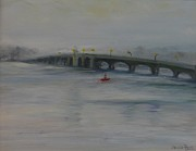 Winter Storm Painting Metal Prints - Oceanic Bridge Metal Print by Desiree  Rose