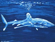 Fine Art Batik Tapestries - Textiles - Oceanic White Tip /SOLD/ by Kay Shaffer