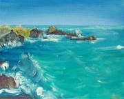 Rocky Shoreline Paintings - Oceano  Tribute to Djavan and Toots Thielemans by Asha Carolyn Young