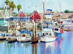 Fishing Boats Posters - Oceanside California Poster by Mary Helmreich