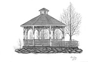 Featured Drawings Metal Prints - Oceanside Gazebo Metal Print by Patricia Hiltz