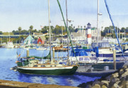 Sail Boats Painting Posters - Oceanside Harbor Poster by Mary Helmreich