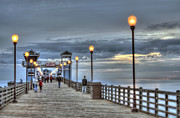 Ann Patterson Framed Prints - Oceanside Pier at Dusk Framed Print by Ann Patterson