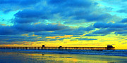 Pier Pyrography Framed Prints - Oceanside Pier at Sunset Framed Print by Brian Brasher