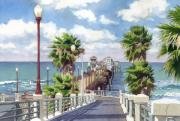 Palm Tree Paintings - Oceanside Pier by Mary Helmreich