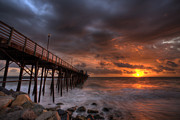 Red Framed Prints - Oceanside Pier Perfect Sunset Framed Print by Peter Tellone
