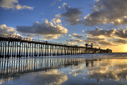 Pier Posters - Oceanside Pier Sunset Reflection Poster by Peter Tellone