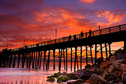 Sunset Seascape Framed Prints - Oceanside Sunset 12 Framed Print by Larry Marshall