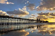 Big Beach Posters - Oceasnside Pier Sunset Reflection Poster by Peter Tellone