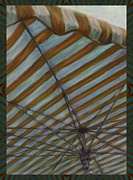 Buy Local Posters - Ochre Striped Umbrella Poster by CR Leyland