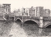 Architecture Drawings Prints - OConnell Street Bridge - Dublin Print by Jimmy McAlister