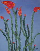 Ocotillo Cactus Framed Prints - Ocotillo Blue Framed Print by Marcia Weller-Wenbert