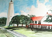 Lighthouse Drawings - Ocracoke island lighthouse by Asuncion Purnell