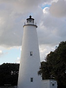 Ocracoke Lighthouse In The Clouds Print by Tammy Wallace