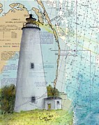 East Coast Lighthouse Paintings - Ocracoke Lighthouse NC Nautical Chart Map Art Cathy Peek by Cathy Peek
