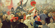 Russian Revolution Framed Prints - October 17th 1905 Framed Print by Ilya Efimovich Repin