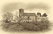 Barn Storm Prints - October Barn sepia Print by Steve Harrington