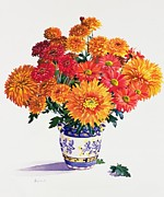 Vivid Orange Paintings - October Chrysanthemums by Christopher Ryland