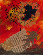 Bare Trees Mixed Media Metal Prints - October Colors Metal Print by Lynn-Marie Gildersleeve
