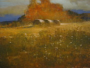 Tennessee Hay Bales Painting Prints - October Hay Print by Darryl Steele