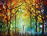 Original Fall Landscape Paintings - October in the Forest by Leonid Afremov
