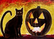 Witch Halloween Cat  Wicca Mixed Media Metal Prints - October Metal Print by Jeremy Moore
