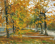 Fall Metal Prints - October. Kaluga. Moskovskaya street Metal Print by Victoria Kharchenko