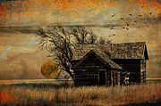 Photomanipulation Photo Prints - October Moon Print by Karen Slagle