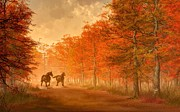 """fall Foliage"" Digital Art - October Road by Daniel Eskridge"
