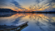 Lake Scene Prints - October sunrise at Lake White Print by Jaki Miller
