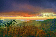 Smokey Mountains Digital Art Framed Prints - October Sunrise Framed Print by John Haldane